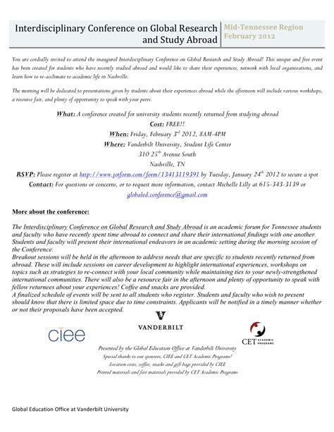Letter Of Invitation To Research Participants Interested In Global Research Or Study Abroad Innervu