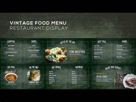 vintage food menu restaurant display after effects