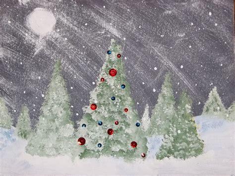 winter trees scene kids glitter