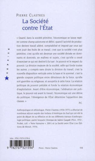 libro la socit contre letat livre la soci 233 t 233 contre l etat pierre clastres