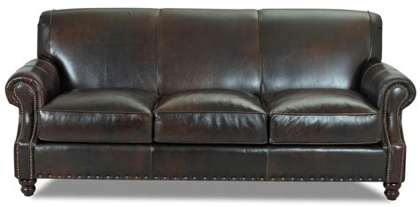 Traditional Leather Sectional Sofa by Fremont Traditional Leather Stationary Sofa By Klaussner