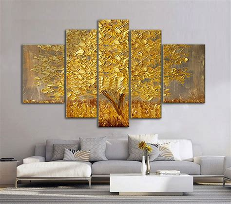 painting wohnzimmer golden abstract fortune lucky trees handmade landscape