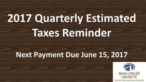 Estimated Tax Payment Reminder Letter post 2017 quarterly estimated taxes reminder