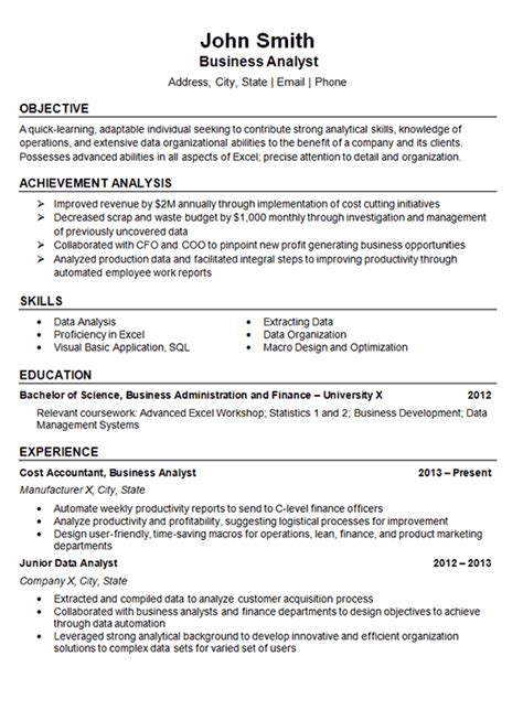 sle resume summary statement for business analyst data analyst resume exle business finance