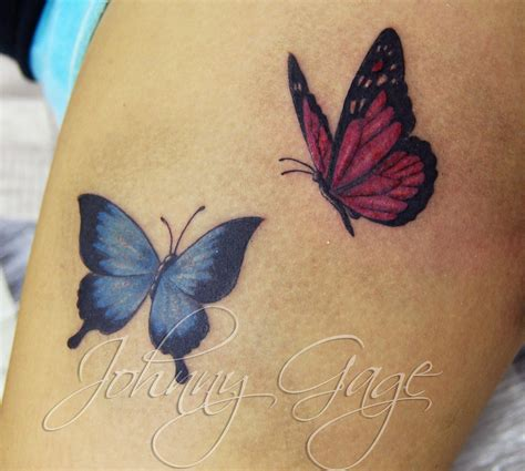 red white and blue tattoo designs blue and ink butterfly