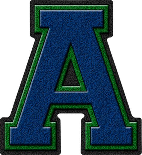 a presentation letter presentation alphabets royal blue green varsity letter a