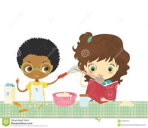 bimbi cucinano bambini cucinano insieme illustrazione di stock