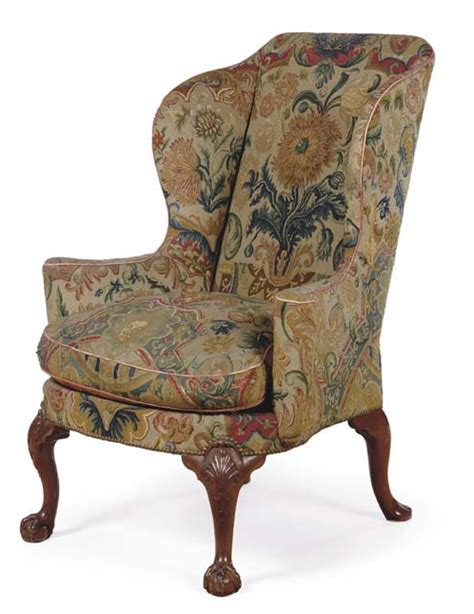 Plaid Upholstered Chairs Antique Style 18th Century George Iii Wingback Chair