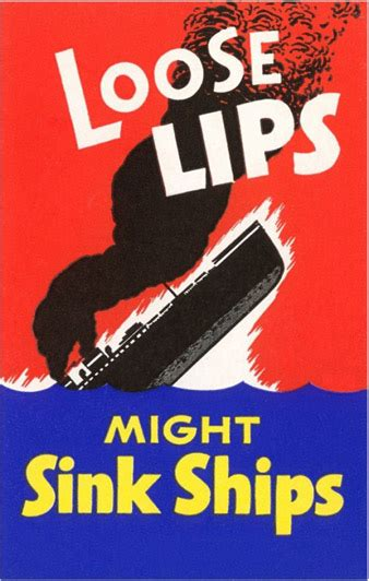 Loose Lips Might Sink Ships Wwii Propaganda Poster Wwi