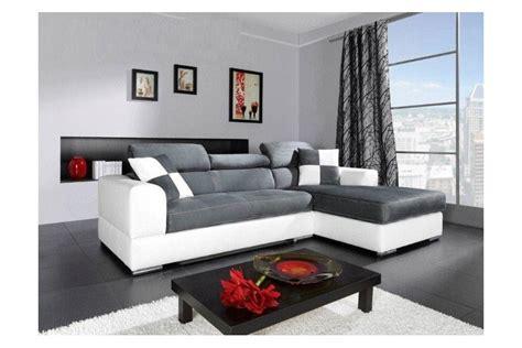 canapé gris blanc canap 233 d angle madrid i cuir pu et microfibre gris et