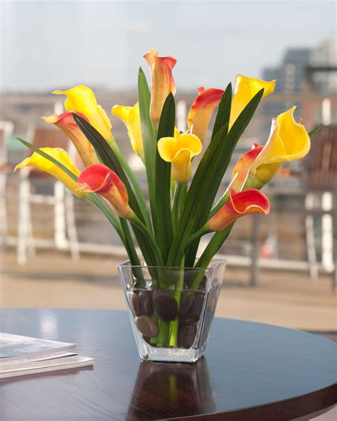 buy calla lily foliage silk flower centerpiece at petals