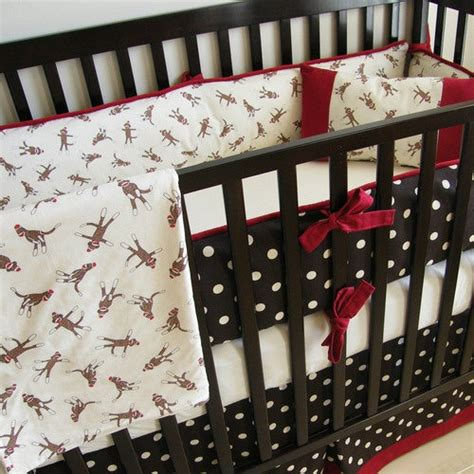 Sock Monkey Crib Bedding Chocolate Sock Monkey Crib Bedding By Babymilanbedding 350 00 Bugaroo Registry
