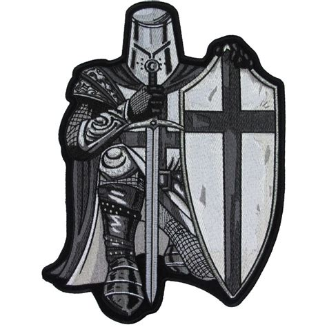 crusader kneeling knight black white large back patch