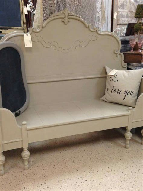 make bench out of headboard bench out of headboard chalked pinterest benches and