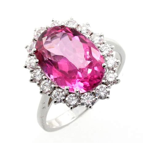 18ct white gold large pink topaz cluster ring