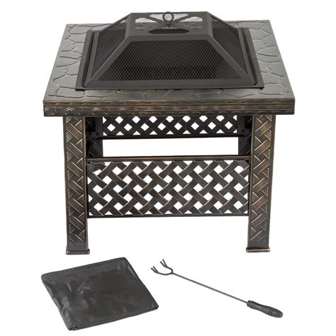 Square Firepit Cover Garden 26 Inch Square Woven Metal Pit With Cover Bronze Tanga