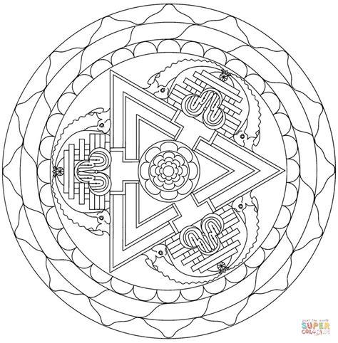 tibetan mandala with triangle coloring page free