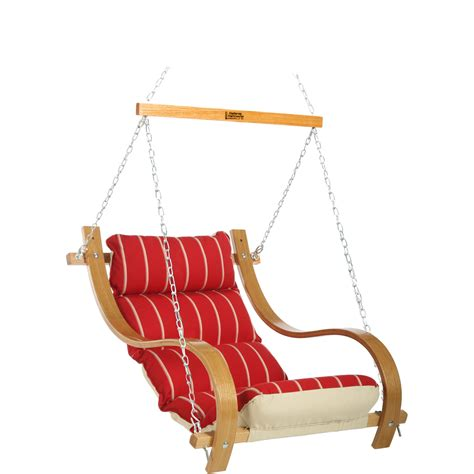 Royal Red Stripe Single Porch Swing With Oak Arms