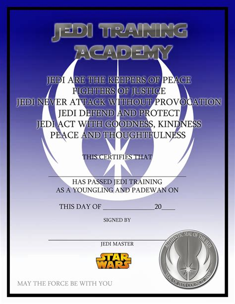 wars jedi certificate template free lovely things wars jedi certificate free
