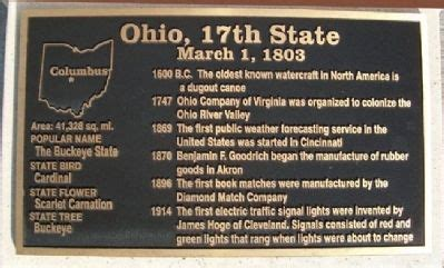 Ohio The 17th State by Corridor Of Flags Historical Marker