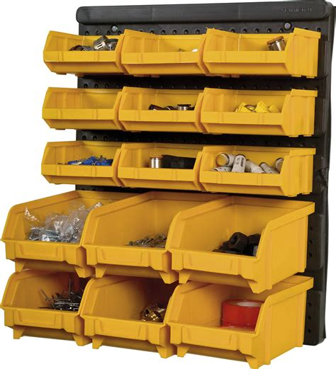 Garage Storage For Totes Plastic Bin Kit Wall Garage Storage Parts Bins Linbin