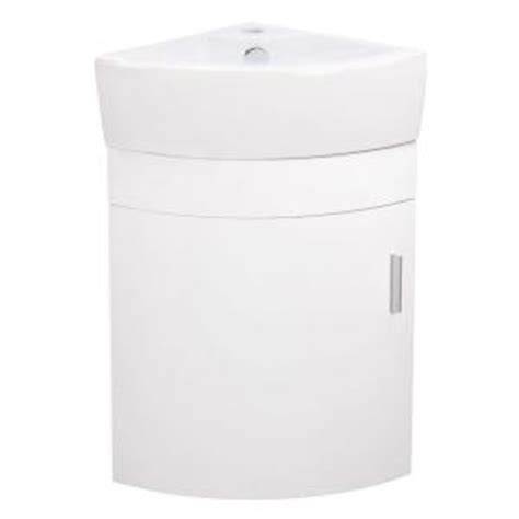 Elanti 17 5 In Vanity Cabinet With Porcelain Wall Mounted Corner Bathroom Sink Home Depot