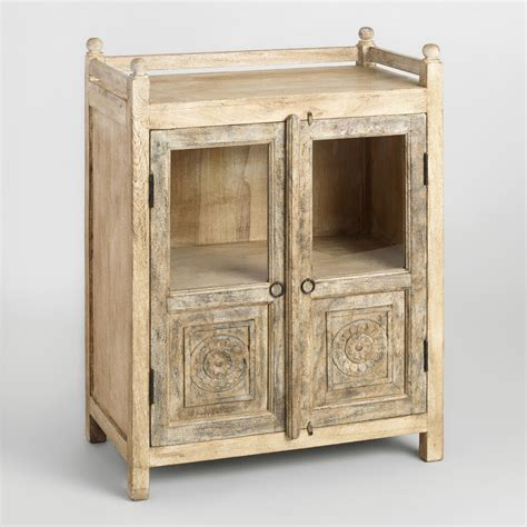 Distressed Antique Cabinet With Glass Doors World Market Vintage Glass Door Cabinet