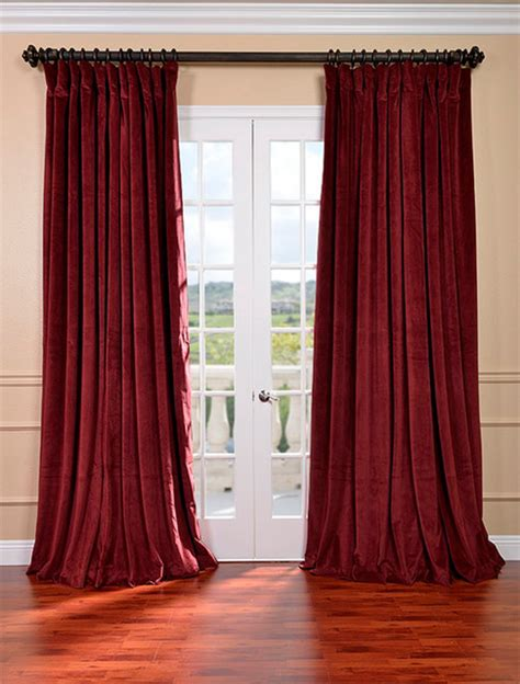 maroon curtains signature burgundy double wide velvet blackout pole pocket