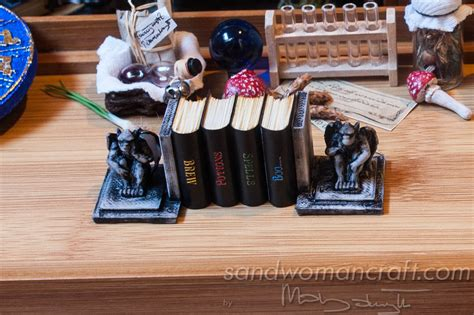 doll house setting dollhouse miniatures four books set potions brew boo spells halloween 1 inch scale 1
