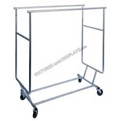 chrome rail collapsible rolling clothing rack