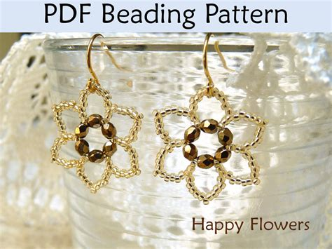jewelry pdf beading tutorial pattern earrings flower jewelry