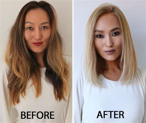 before and after long hair to lob how to grown out ombre transformed into an edgy blonde
