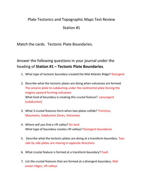 worksheet volcanoes and plate tectonics worksheet answers