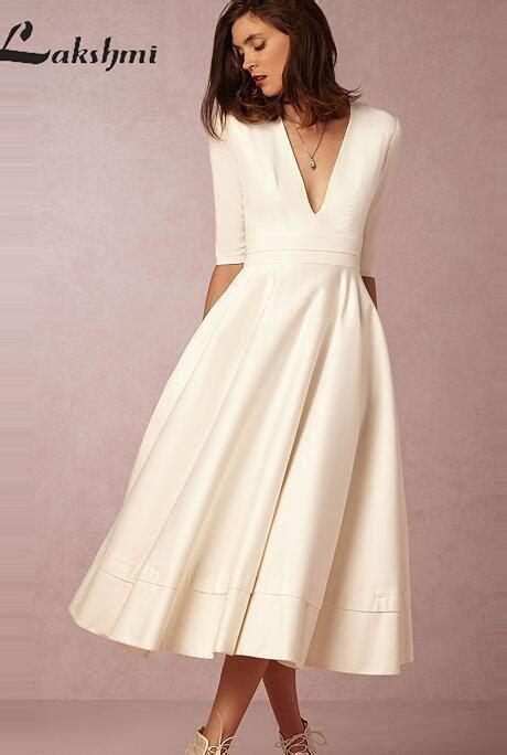 vintage tea length wedding dresses   sleeve deep