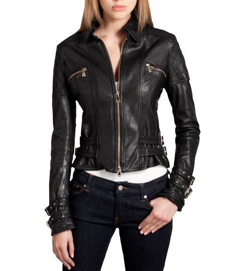 ladies leather motorcycle biker jacket women leather fit jacket