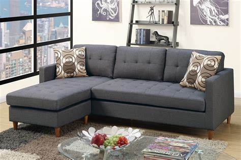 blue gray sectional blue grey polyfiber reversible sectional sofa