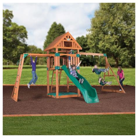 Backyard Swing Sets Backyard Discovery Capitol Peak Wooden Swing Set 54403com