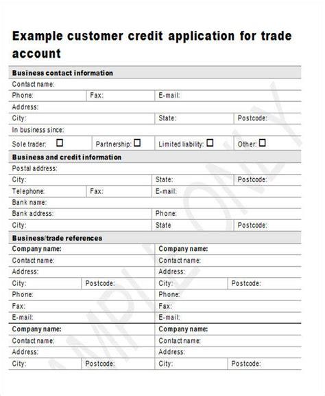 customer credit application form template 44 sle application forms in doc