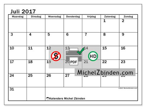 Juli Kalender 2017 Kalender Om Af Te Drukken Juli 2017 Tiberius Belgi 235
