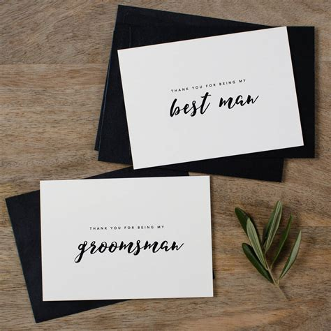 groomsman or best man thank you wedding cards by kismet
