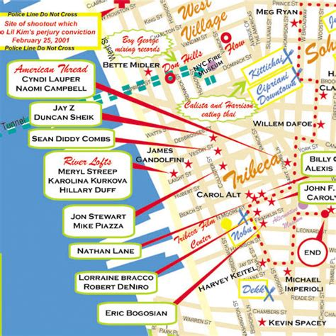 hollywood celebrities map tribeca new york map new york star maps maps of
