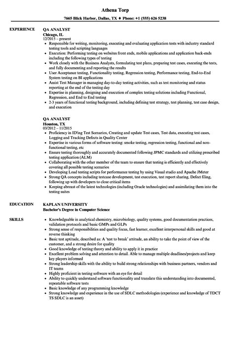 Qa Analyst Resume qa analyst resume sles velvet