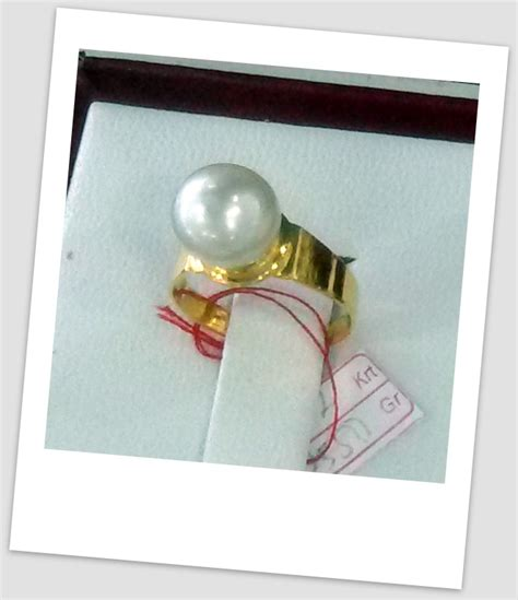 Cincin Handmade - handmade gold ring with south sea pearl ctr 061 harga