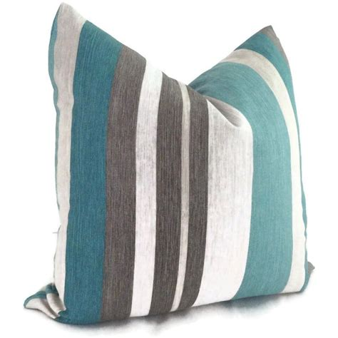 Teal And Grey Throw Pillows by Turquoise Teal And Gray Stripe Linen Decorative Pillow Cover Stripes Turquoise And Gray