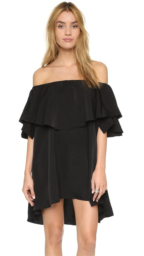 Black Shoulder Dress mlm label maison shoulder dress in black lyst