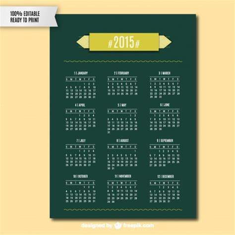 calendar design 2015 vector free download green 2015 calendar vector free download