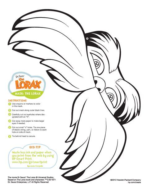 free printable lorax bookmarks the lorax mask printable preschool dr seuss