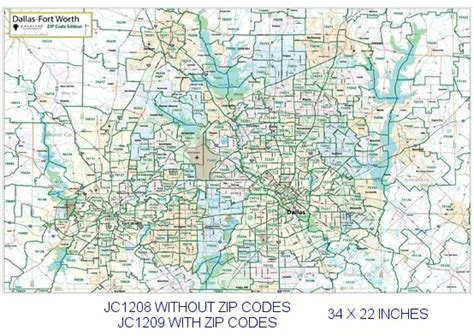 zip code map dallas county dallas fort worth zip codes major thoroughfares 22x34