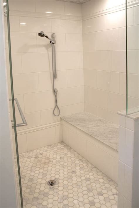 Large white subway tile. Renee Note : Bathroom tile for