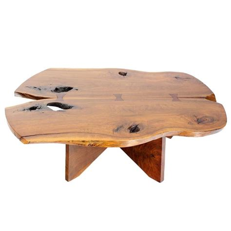 mid century modern walnut coffee table in style of
